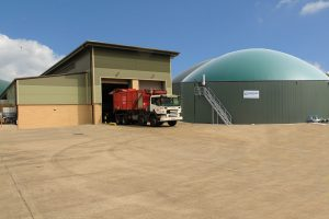 Anaerobic digestion plant for waste treatment.