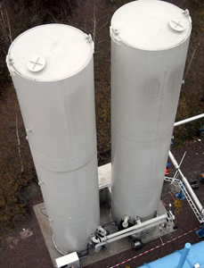 biological desulfurization plant for a paper factory. view from top.