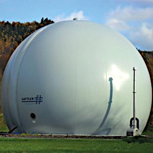 Free standing double membrane gas holder, gas storage, gasometer